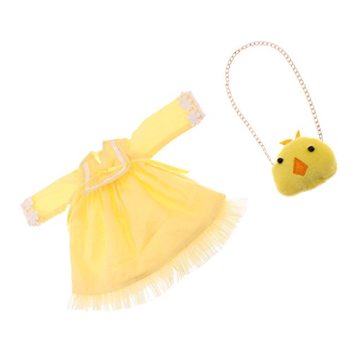 MonkeyJack Cute Yellow Double Layers Long Sleeve Frock Skirt Dress w/Lace +Chicken Shoulder Bag Set for 12'' Blythe Azone Dolls -