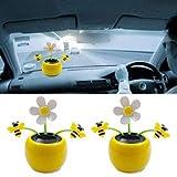 Vimbhzlvigour Interior Decoration Creative Plastic Solar Power Flower Car Ornament Flip Flap Pot Swing Kids Toy