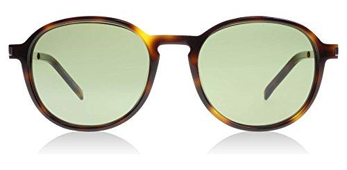 Yves Saint Laurent SL 110 002 Avana-Silver-Green Round Sunglasses Unisex 51 mm