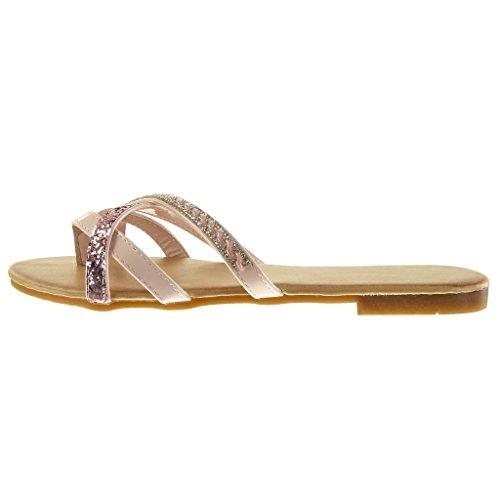 Angkorly - Scarpe da Moda sandali donna strass paillette multi-briglia Tacco a blocco 1.5 CM - Rosa