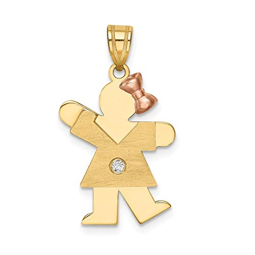 14k Two Tone Yellow Gold Diamond Kid Pendant Charm Necklace Fine Jewelry Gifts For Women For ()