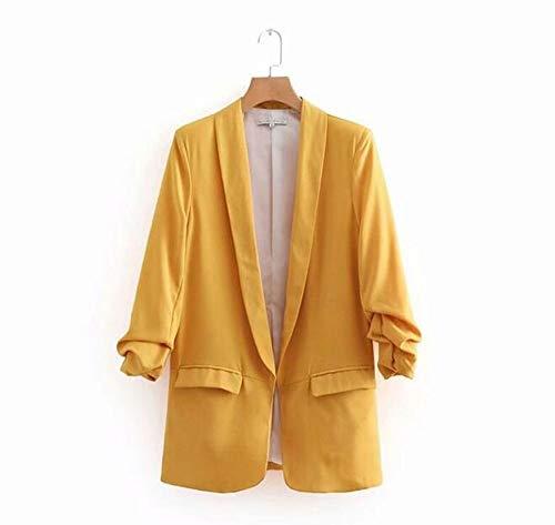 WJMM WJMM WJMM A Tinta Gold A Donna Slim Lady Office Unita Blazer nbsp;Pocket Con Maniche Donna Quarti Da Blazer Tre rxTAXqYPr