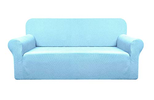 YUUHUM Stripes Sofa Covers, Super Stretch Couch Covers 3 Cushion Couch Sofa Slipcovers Pet Furniture Covers Dog Couch Protectors (Loveseat, Sky Blue)