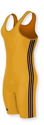 Athletic Singlet - adidas aS102s Lycra 3 Stripe Wrestling Singlet -:Athletic Gold/Black - M