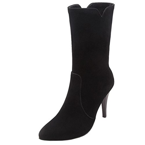 Women Zipper Melady Dress Black Fashion Boots Mid 75q56O