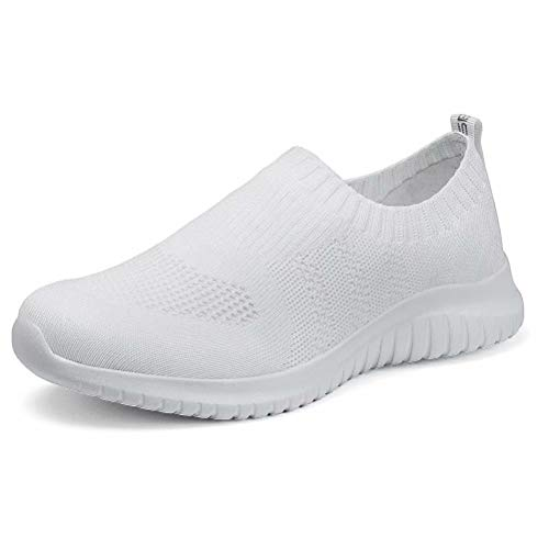 (konhill Women's Walking Tennis Shoes - Lightweight Athletic Casual Gym Slip on Sneakers 8.5 US White,39 )