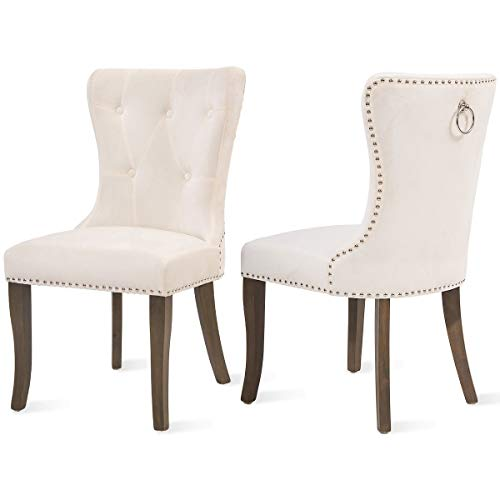 COZYWELL Dining Chair Set of 2, Upholstered Parson Chair Accent Chair Button Tufted Armless Chair with Nailhead Trim and Back Ring Pull (Velvet White) (Tufted Upholstered Dining Chairs)