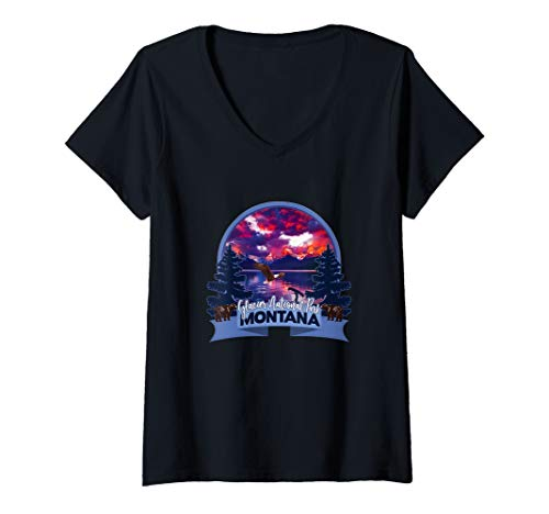 Womens Montana Glacier National Park  USA  Souvenir V-Neck T-Shirt