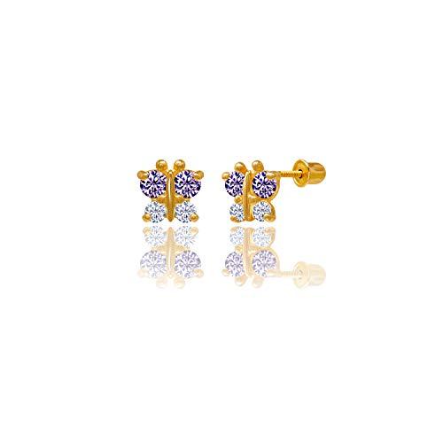 14kt Solid Gold Kids Butterfly Stud Screwback Earrings - Purple