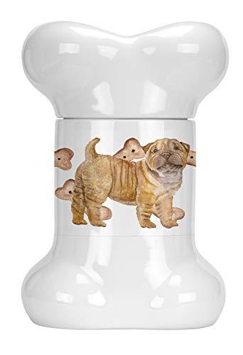 Caroline's Treasures CK2299BSTJ Shar Pei Puppy Bone Shaped Treat Jar, 9 in in, Multicolor