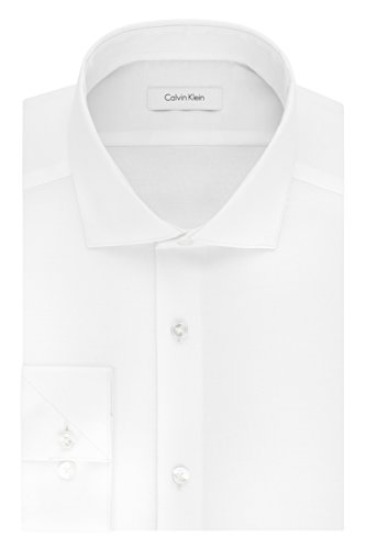 Calvin Klein Men's Dress Shirt Slim Fit Non Iron Stretch Solid, White, 17.5