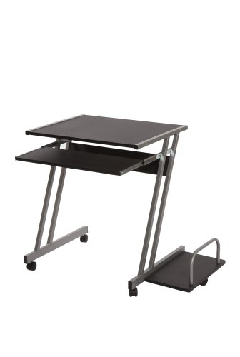 tems Cambridge Mobile Computer Desk with Sliding Keyboard Tray, CPU Shelf, and 4 Caster Wheels, Black ()