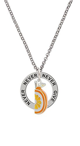 3-D Enamel Orange Slice - Never Give Up Affirmation Ring Necklace