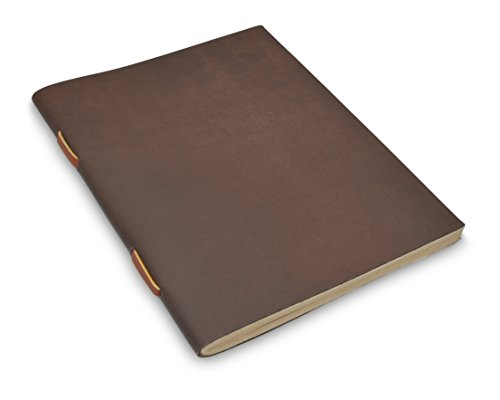 Dyed Mulberry - Nepali Field Book Vintage Leather Notebook with Traditional Handmade Lokta Paper from Nepal (Large, Dark Walnut)