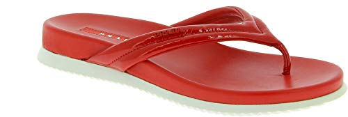 (Prada Women's True Red Patent Leather Thong Slippers Shoes - Size: 6.5 US)