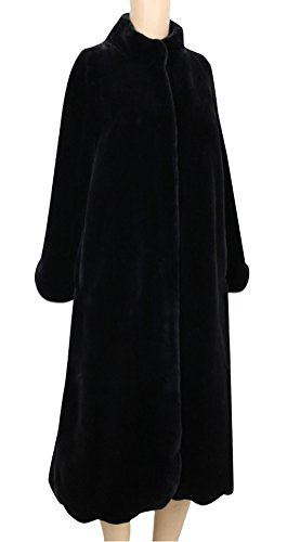 ACE SHOCK Rex Rabbit Fur Coat Women Plus Size, Deluxe Long Winter Jacket Casual Warm Outwear 4 Colors Size XS-2X (US Plus Size 2X, Black)