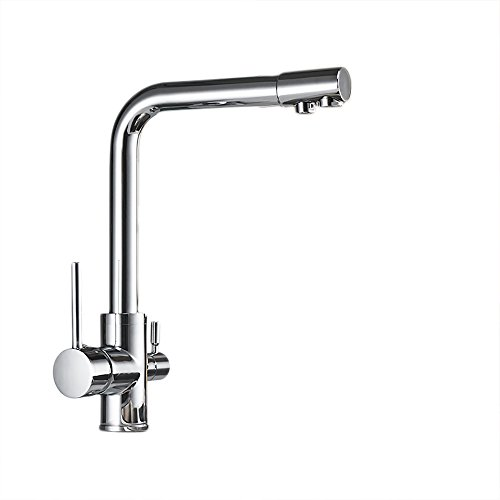 (OWOFAN Deluxe 3-Way Kitchen Faucet for Reverse Osmosis System Lead Free Mixer Taps Chrome Silver)