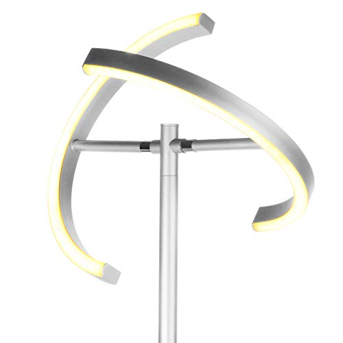 Brightech Halo Split - Modern LED Torchiere Floor Lamp - Tall, Pole, Standing Lamp for Living Rooms & Offices - Bright, Dimmable Light for Reading Books In your Bedroom - Platinum Silver ()