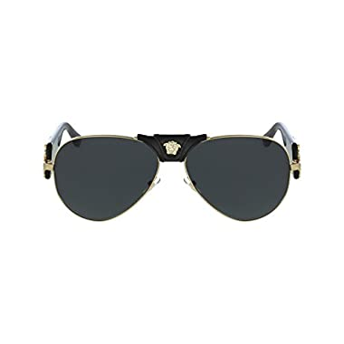 51e65d6ac4 Versace VE2150Q - 100287 Gold Black Aviator Sunglasses 62mm