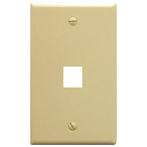 ICC IC107F01IV ABS Plastic 1-Gang 1-Port Classic Configurable Flat Traditional Faceplate Ivory