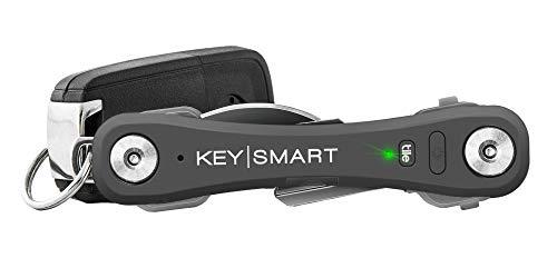 KeySmart Pro - Compact Key Holder w LED Light & Tile Smart Technology, Track Your Lost Keys & Phone w Bluetooth (up to 10 Keys, Slate)