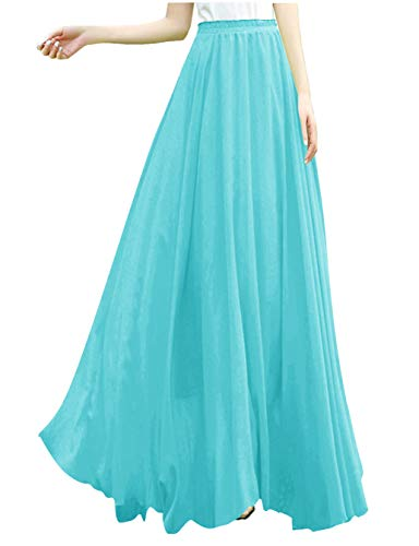 v28 Women Full/Ankle Length Elastic Pleated Retro Maxi Chiffon Long Skirt (M,Light ()