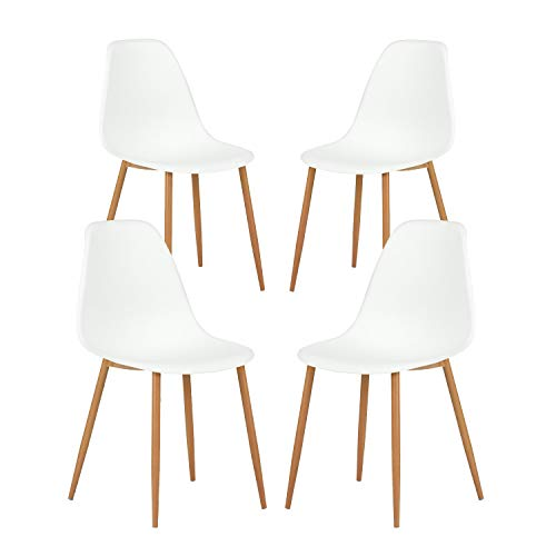 GreenForest Dining Chairs Set of 4, Mid Century Modern Plastic Seat and Back Kitchen Room Chairs with Metal & Wood Legs, White
