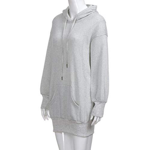 Unie Longues Manteau Sweat Capuche Gray Blouse Streetwear Couleur Femme Haut Pullover Chic Kangrunmy Sweat Haute a Veste Chemise Pull Tops Chemisier Shirt Manches q8UwdxfYw