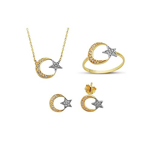Anelise Fine Gold Jewelry Set For Women - Star and Crescent Set of 3 14K Solid Yellow Gold Set For Womens 4,85 gr Necklace, Earrings, Ring Set, Everyday Wear, Quality, Dainty Fine Set ()
