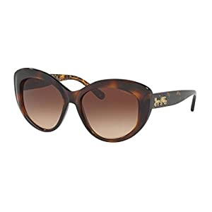 Coach Women's HC8206 Sunglasses Dark Tort/Dark Tort Gold Sig C/Smoke Gradient 55mm