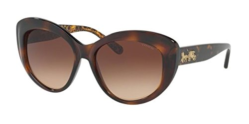 Coach Women's HC8206 Sunglasses Dark Tort/Dark Tort Gold Sig C / Smoke Gradient - Mens Coach Sunglasses