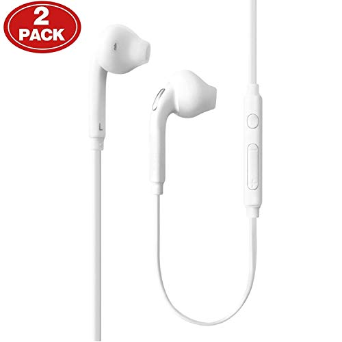 Aux Headphones/Earphones/Earbuds, (2 Pack) ebasy 3.5mm Aux Wired in-Ear Headphones with Mic and Remote Control Compatible with Galaxy S9 S8 S7 S6 S5 Edge + Note 5 6 7 8 9 and More Android Devices (Best Earphones For Samsung S8)