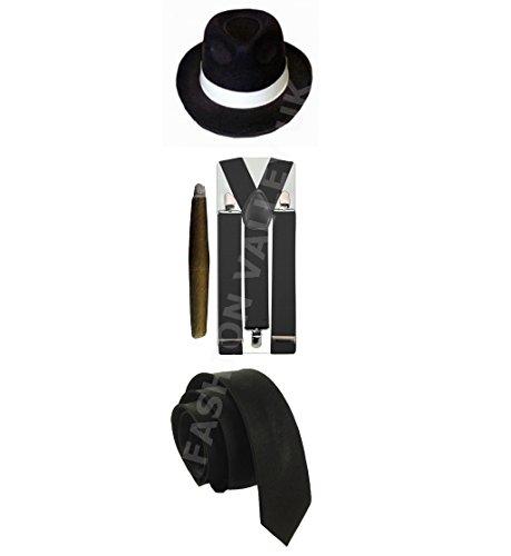 Glossy Look Men's Gangster Pimp Hat Brace Tie Cigar Mafia Fancy Dres Costume One Size Fits Most Black Full (Mafia Man Costume)