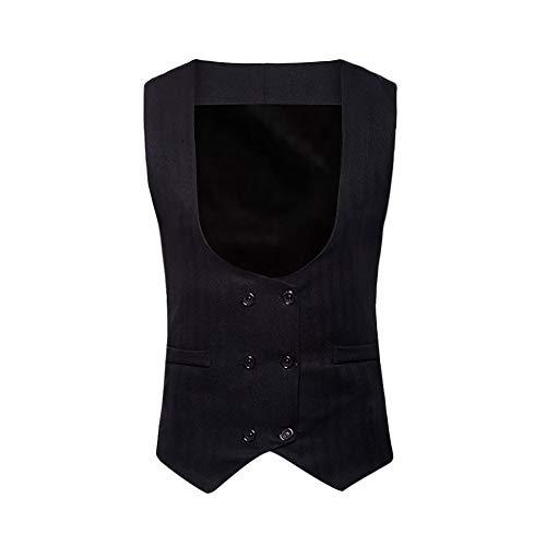 Sunhusing Autumn Winter Men's Sleeveless Double Breasted Formal Suit Vest Waistcoat - Iridescent Coat Taffeta