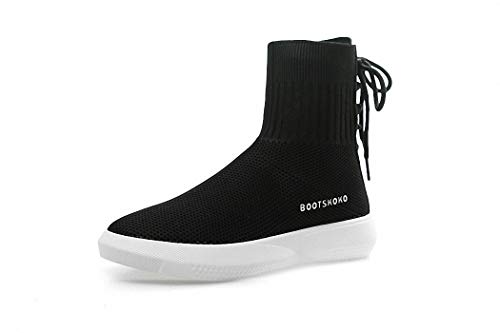 Punto Deportivo Medias Lucdespo negro de Señoras Hip Botas Calcetines Hop Transpirables Zapatos Calzado elásticos de Calcetines Casuales F07SwF