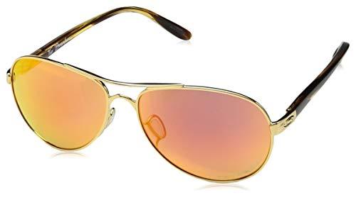 Oakley Women's OO4108 Tie Breaker Aviator Metal Sunglasses, Rose Gold/Prizm Tungsten Polarized, 56 mm (Aviator Oakley)