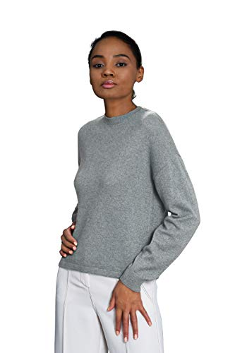 Goyo Cashmere Women's 100% Pure Cashmere Sweater – Dropped Shoulder Long Sleeve Pullover (Light Grey, S)