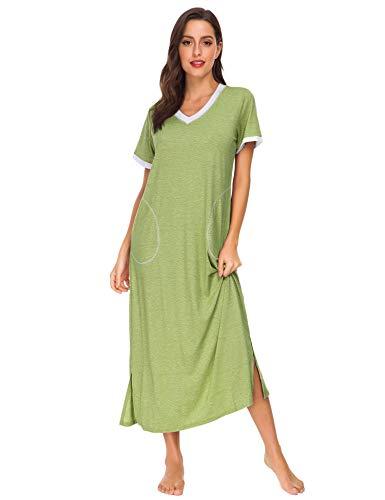 - LOMON Women's Nightgown Comfy Sleepwear Loose Fit Lounge Maxi Nightgown Long Nightwear for Women Plus Size (Green, XL)