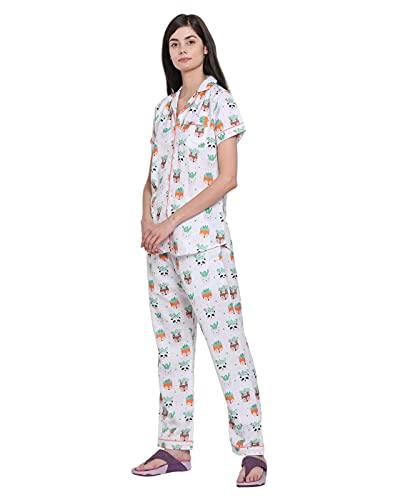 Moonlight Studio Cute Succulent Animal Planters Women's Pajama Set, Night Suit, Lounge Wear, Shirt & Pyjama Dress
