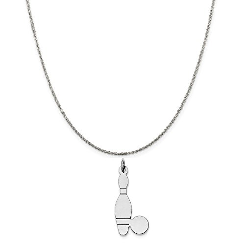 Sterling Silver Bowling Ball (Sterling Silver Bowling Ball and Pin Charm on a Sterling Silver Rope Chain Necklace, 20