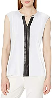 Calvin Klein Women's Plus-Size V-Neck Tank with Faux Leather and C