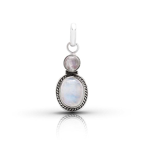(Moonstone Oval Round Stone Ethnic Pendant Sterling Silver 925)