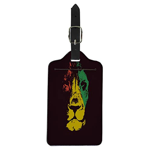 (Pinbeam Luggage Tag Green Marley Lion Head Rasta Red Bob Reggae Suitcase Baggage Label)