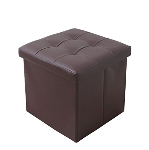 ShellKingdom Faux Leather Folding Shoe Storage Ottoman Cubes Bench, Foot Rest Stool Seat Table Pouf Footstools and Ottomans(15''X15''X15'' Cube Brown) (Seat Footstool)