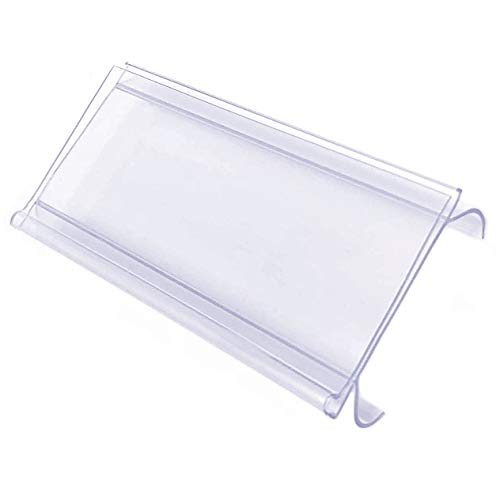 (Wire Shelf Label Holder, Metro & Nexel Clear Plastic Clip On Ticket Holder with Sleeve, 3