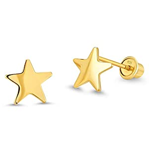 - 31ODpPzesSL - 14k Gold Plated Brass Plain Star Screwback Baby Girls Earrings with Sterling Silver Post
