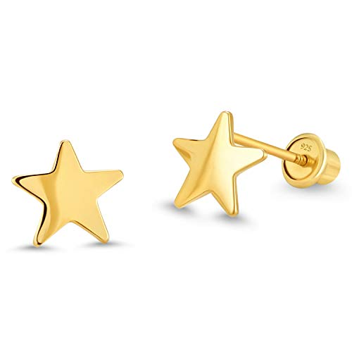 (14k Gold Plated Brass Plain Star Screwback Baby Girls Earrings with Sterling Silver Post)