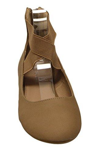 Top Moda Brea-6 Donna Tessuto Elastico Incrocio Casuale Chiusura Con Zip Comfort Balletto Scarpe Tan
