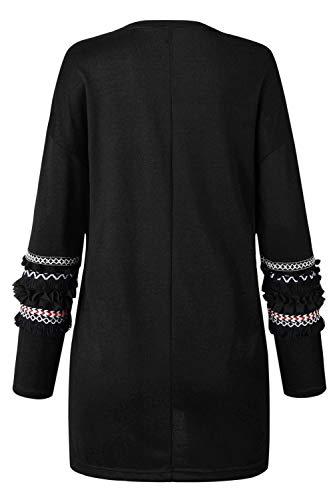 Mujer Negro Abrigan Suéter El Ligero Abrigo Outweawr Yacun Frente De Cárdigans PBvnx1n