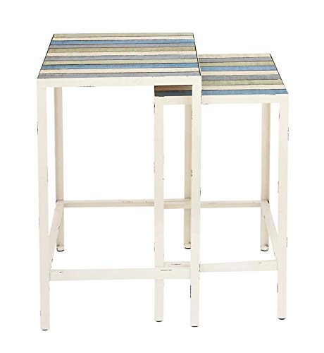 2 Piece Nesting End Tables - Iron Base End Table with Wood Top - White (Tables Iron Nesting Square)